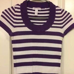 Ambiance Apparel L Striped Purple White Top Shirt